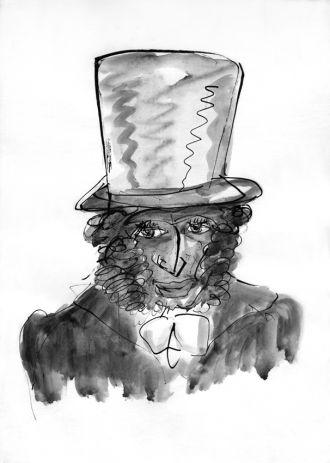 А. С. Пушкин в цилиндре.