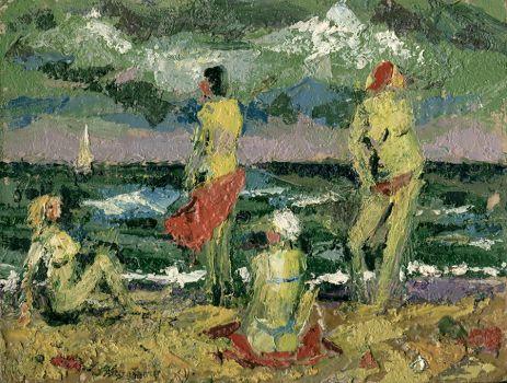 Сумерки на пляже.