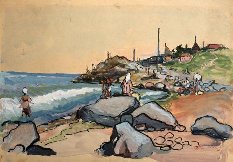 Дикий пляж с камнями.