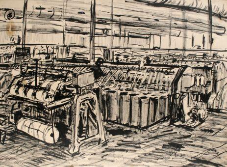 На ткацкой фабрике.